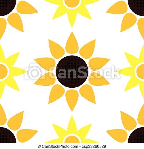 vector sunflower seamless pattern - csp33260529