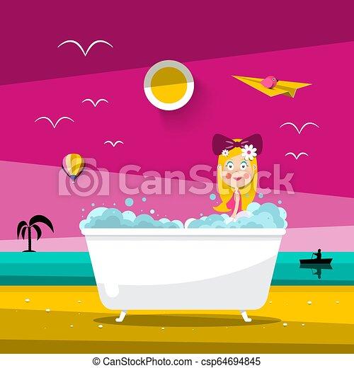 Vector Sunset Landscape with Beautiful Woman in Bathtub on Ocean Beach - csp64694845