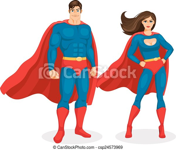 illustration superman and superwoman isolated on white clip art rh canstockphoto com superwoman clipart pictures superman clip art