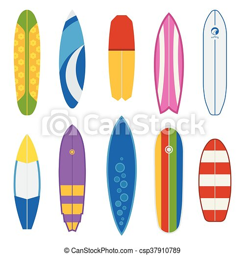 Vector Surfboard Collection Different Surfboard Collection Flat