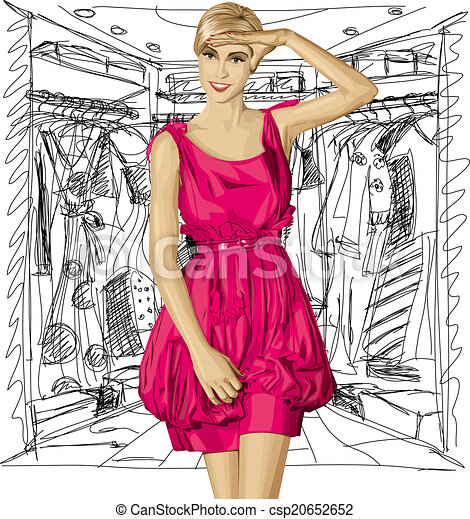 Vector Surprised Blonde in Pink Dress - csp20652652