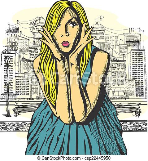Vector Surprised Blonde in Pink Dress - csp22445950