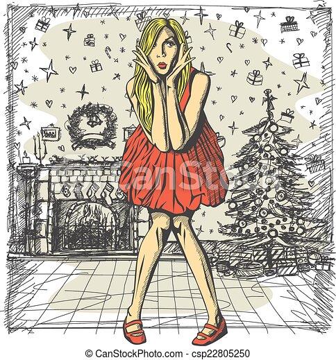 Vector Surprised Blonde in Pink Dress - csp22805250