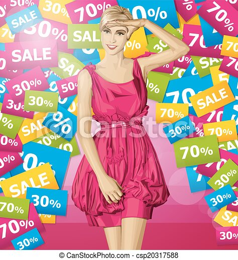 Vector Surprised Blonde in Pink Dress - csp20317588