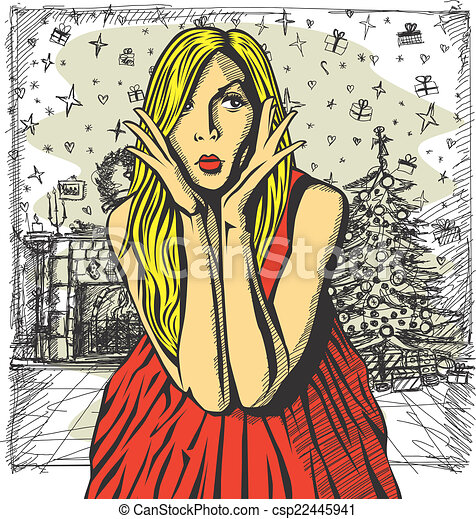 Vector Surprised Blonde in Pink Dress - csp22445941