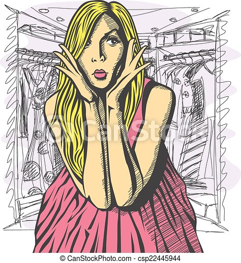 Vector Surprised Blonde in Pink Dress - csp22445944
