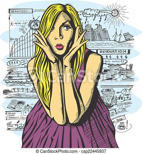 Vector Surprised Blonde in Pink Dress - csp22445937