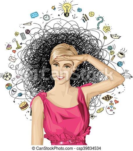 Vector Surprised Blonde in Pink Dress - csp39834534