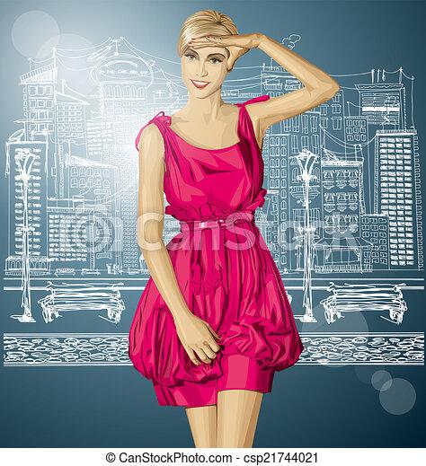 Vector Surprised Blonde in Pink Dress - csp21744021