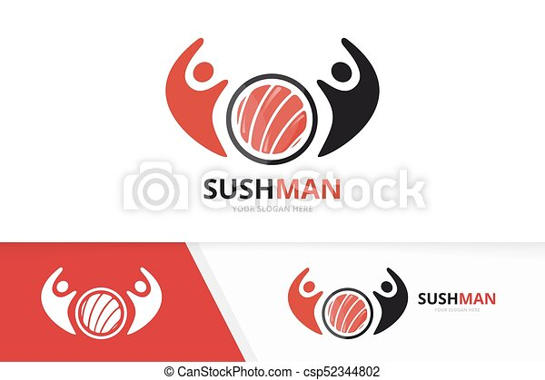 Vector Sushi And People Logo Combination Japanese Food And Family