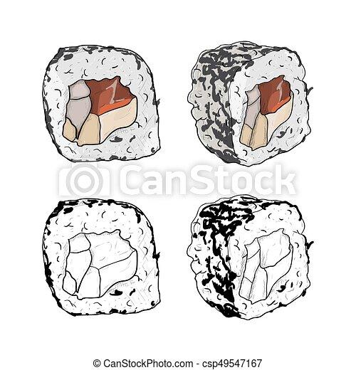 Sushi Disegno Da Colorare.Vector Sushi Roll Color Sketch