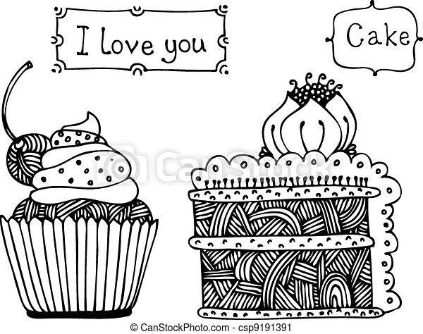 Vector sweet cake set - csp9191391