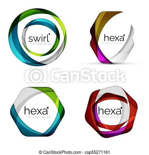 Vector swirl hexagon set, geometric business icons or web banners templates with sample slogan. Created with color overlapping transparent shapes - csp55271161