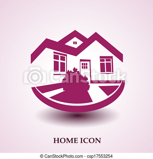 Vector symbol of home, house icon, realty silhouette, real estate modern logo - csp17553254