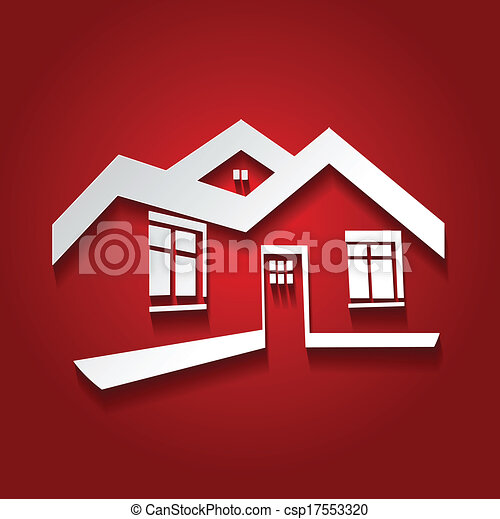 Vector symbol of home house icon realty silhouette real for Modern house logo