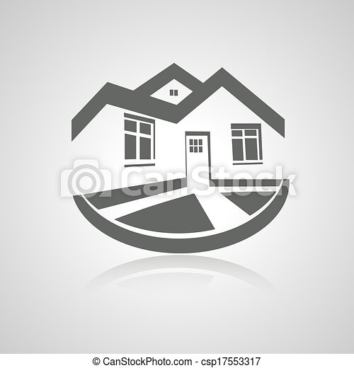 Vector symbol of home, house icon, realty silhouette, real estate modern logo - csp17553317
