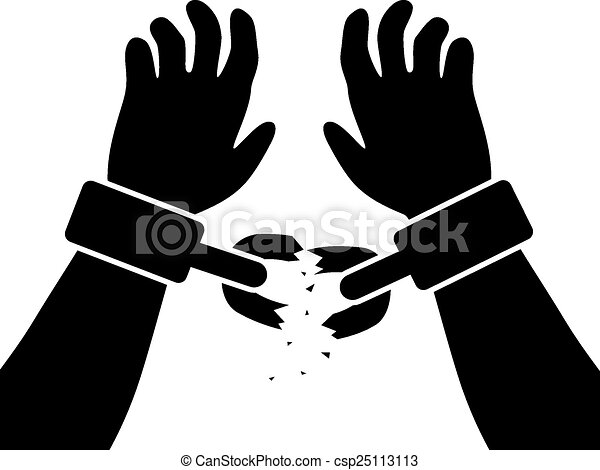 vector symbol of man s raised hands with broken chains