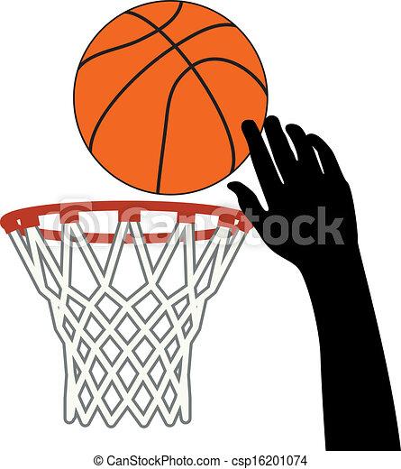 Vector Symbol Of Shot Of Basketball Ball Through A Hoop Vector
