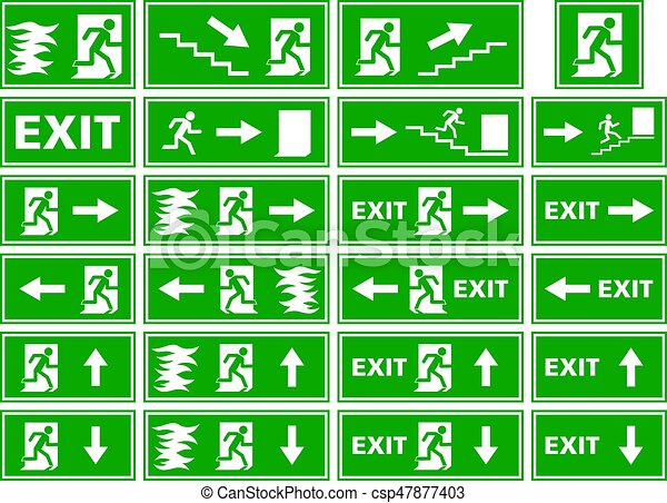 vector symbol set emergency exit sign fire alarm plate person