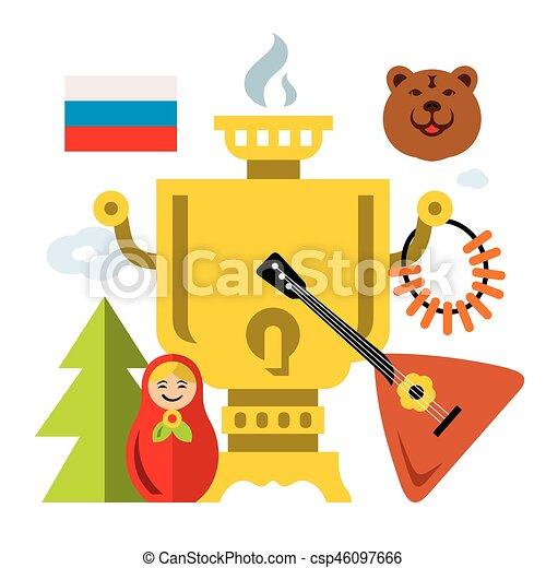 Vector Symbols Of Russia Flat Style Colorful Cartoon Illustration
