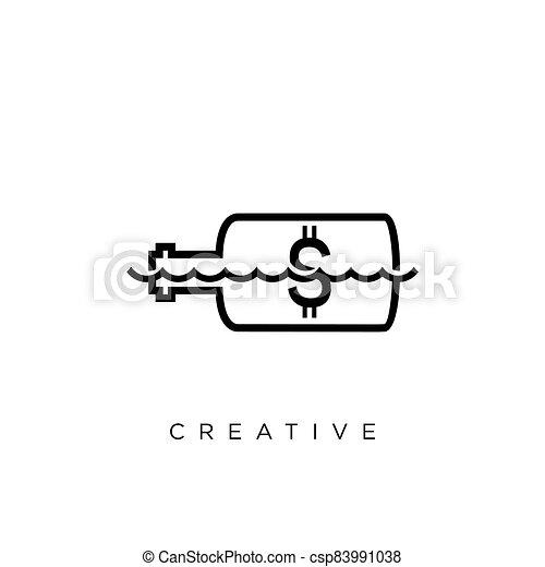 vector, symbool, fles, boodschap, logo, ontwerp, pictogram - csp83991038
