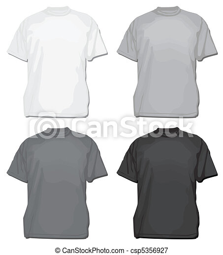 Vector t-shirt or tee template. Set of vector tees or t-shirt templates.