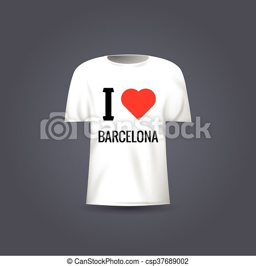 Vector t-shirt template with design I Love Barcelona - csp37689002