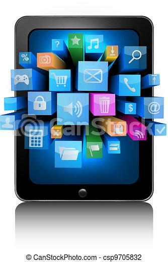 Icons en una tableta. Vector - csp9705832