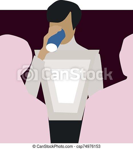 vector, taza blanca, ilustración del hombre, fondo. - csp74976153