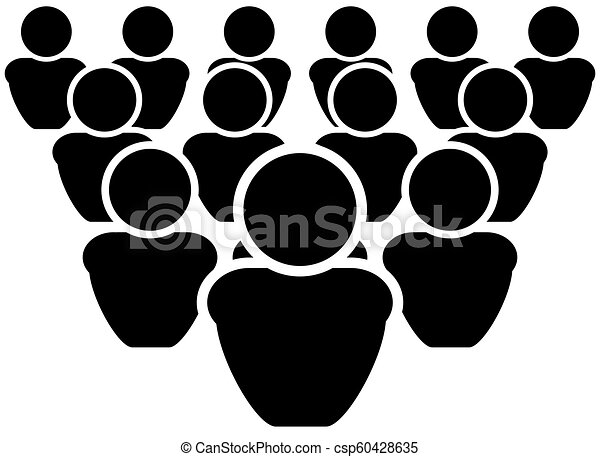 Vector Team Stylized Icon, Many People Sign, Black Illustration Isolated. - csp60428635