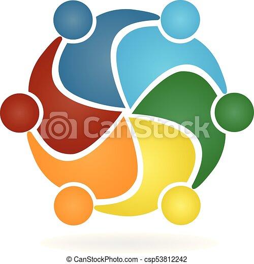 Vector Teamwork hug people logo - csp53812242