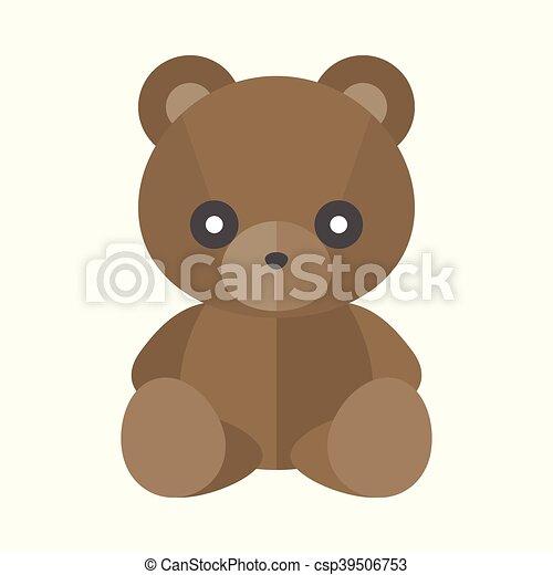 Vector teddy bear icon, flat design - csp39506753