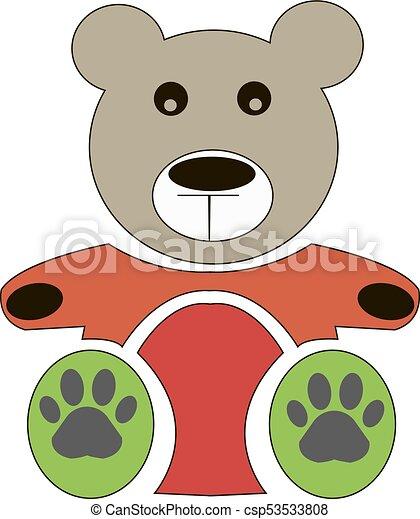 vector teddy bear icon flat design bear dollv
