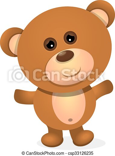 vector Teddy bear isolated on white background. - csp33126235