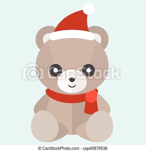 vector teddy bear with hat vector teddy bear with christmas hat