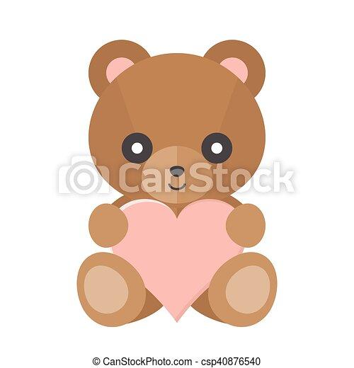 Vector teddy bear with heart - csp40876540
