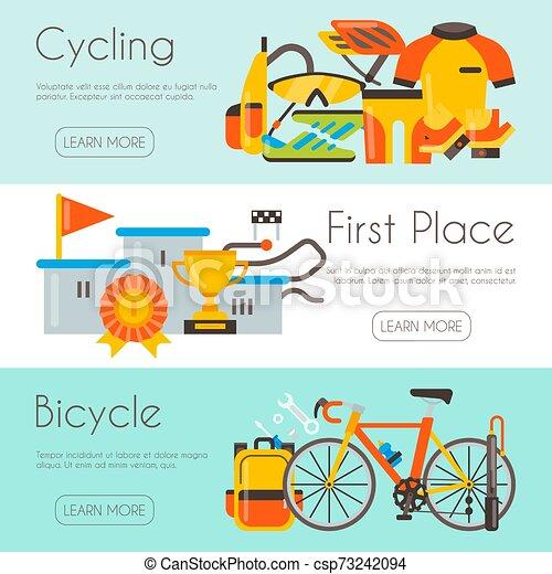 La página de triatlón plana de plantilla de ciclismo, ilustración de vectores de carrera de vectores. Uniforme de bicicleta, podio para campeón y reparación de bicicletas. Banner, sitio y plantilla de carteles con lugar para tu texto. - csp73242094