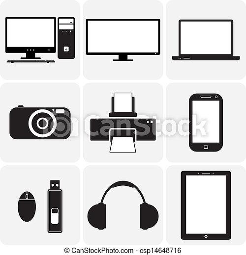 Tv, computadora, cámara, portátil, cuaderno y otros aparatos electrónicos. Estas ilustraciones gráficas de vectores son iconos simplistas de aparatos digitales en blanco y negro - csp14648716