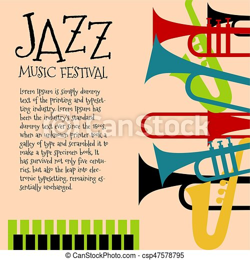 Vector Template For Jazz Concert Poster Or Flyer Featuring
