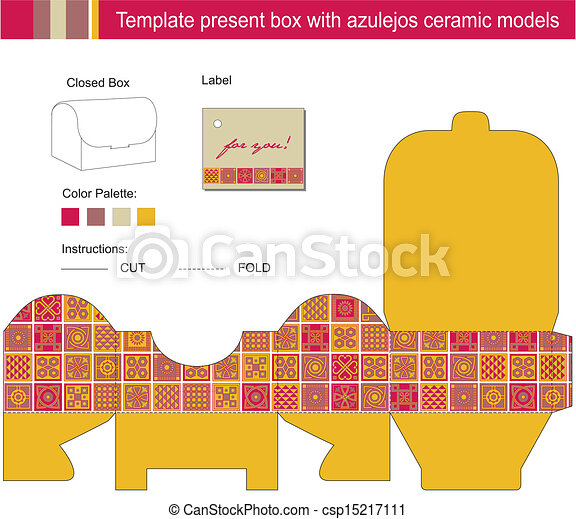 Vector template for present box with blue azulejos ceramic... vector ...