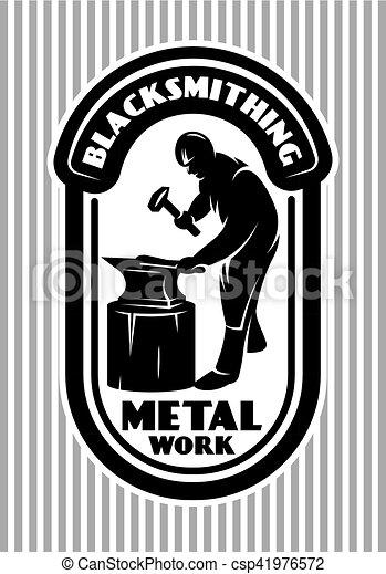 vector template for the logo in retro style with blacksmith hammer, anvil in the smithy - csp41976572