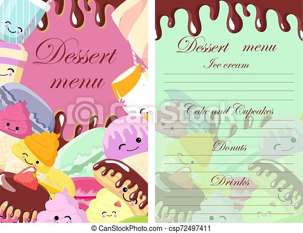 Vector template of dessert, candy, bakery and sweets menu. Sketch hand drawn illustration. Colorful background. - csp72497411