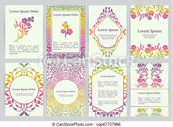 Vector templates for A4 with florals - csp47737966