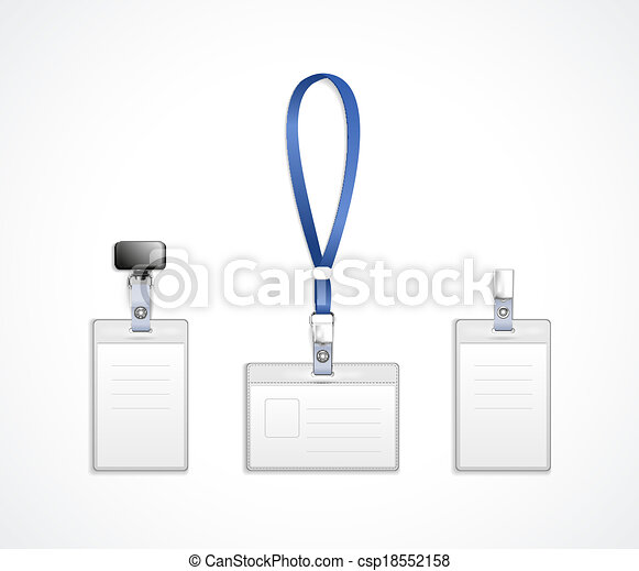 vector templates for name tag with lanyard - csp18552158