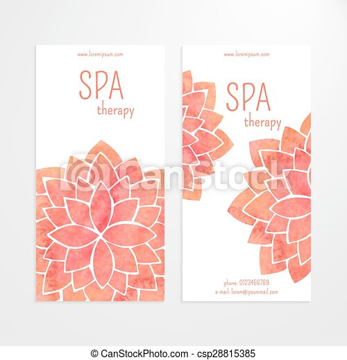 Vector templates of banners with watercolor red lotus flower mandala ...