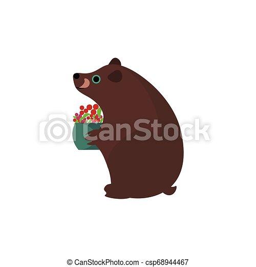 La parte de un oso pardo sosteniendo una cesta de frutas llena de bayas vector o ilustración de colores - csp68944467