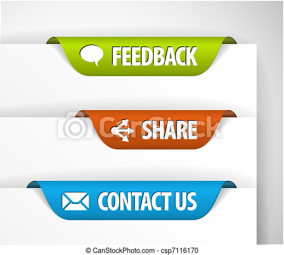 vector, terugkoppeling, etiketten, aandeel, contact - csp7116170
