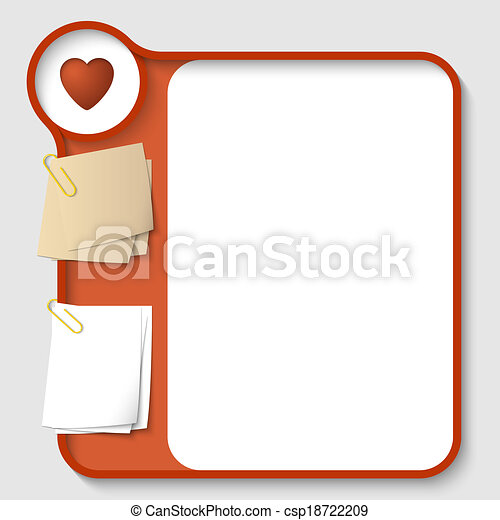 vector text frames for any text with two paper clips and heart - csp18722209