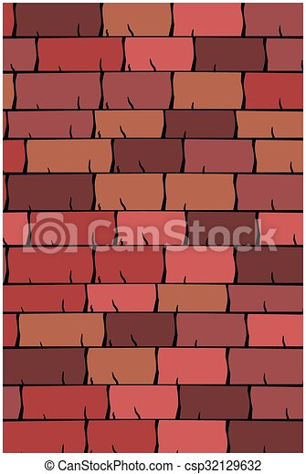 Vector texture illustration of Seamless red clay roof tiles, slate. - csp32129632