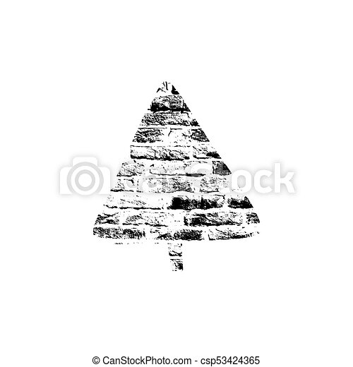 Vector Textured Christmas Tree Stylized Imprint On Bricks Black White Isolated Element For Holiday Cards Or Stamp Brushes Creating It Will Bring Depth
